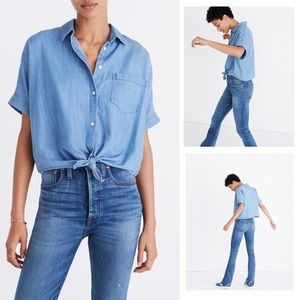 Madewell Denim Short Sleeve Tie Front Shirt Large
